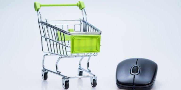 Google Shopping Ads Beitragsbild Einkaufswagen und Maus