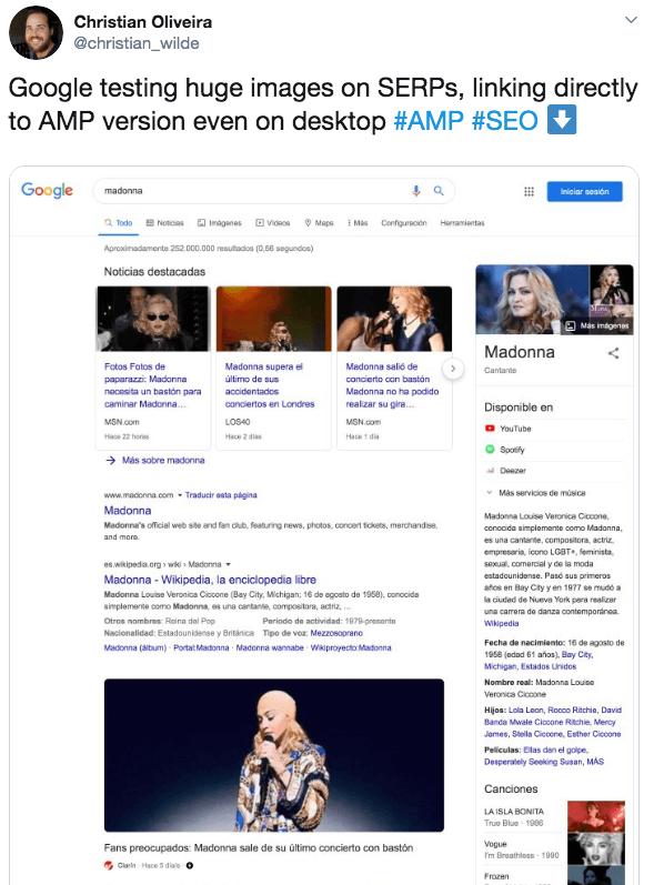 Twitter screenshot AMP Seiten in Ergebnissen der Desktop Suche