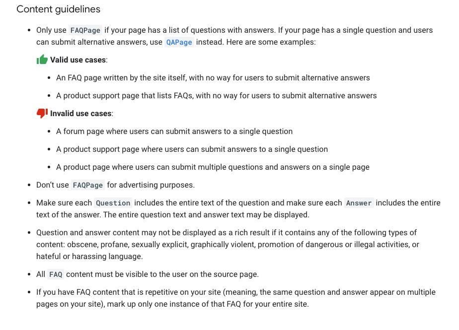 Screenshot zu neuen Richtlinien bezueglich FAQ-Markup