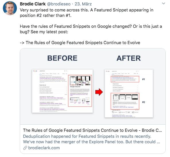 Twitter Screenshot Featured Snippet in Hauptspalte unf auf Position zwei