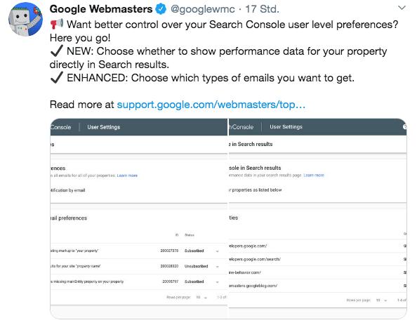 Twitter Screenshot ueber Google Search Console Neuerungen der Benachrichtigungen